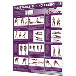 Resistance Tubing Back/Legs/Biceps/Chest/Triceps Poster Laminated